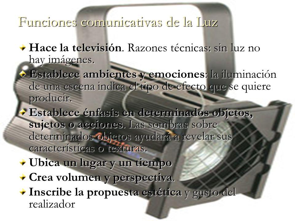 Funciones comunicativas de la Luz Hace la televisión. Razones técnicas: sin luz no hay imágenes. Establece ambientes y emociones: la iluminación de un