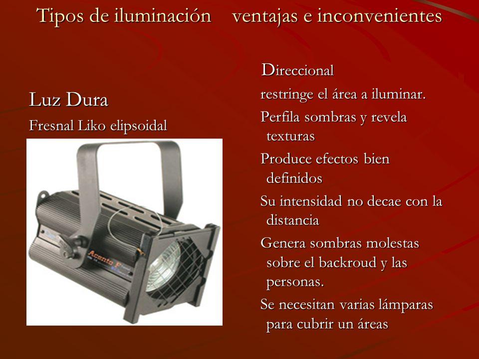 Tipos de iluminación ventajas e inconvenientes Luz Dura Fresnal Liko elipsoidal D ireccional D ireccional restringe el área a iluminar. restringe el á
