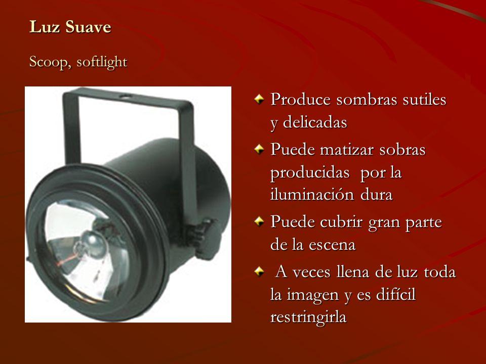 Luz Suave Scoop, softlight Produce sombras sutiles y delicadas Puede matizar sobras producidas por la iluminación dura Puede cubrir gran parte de la e