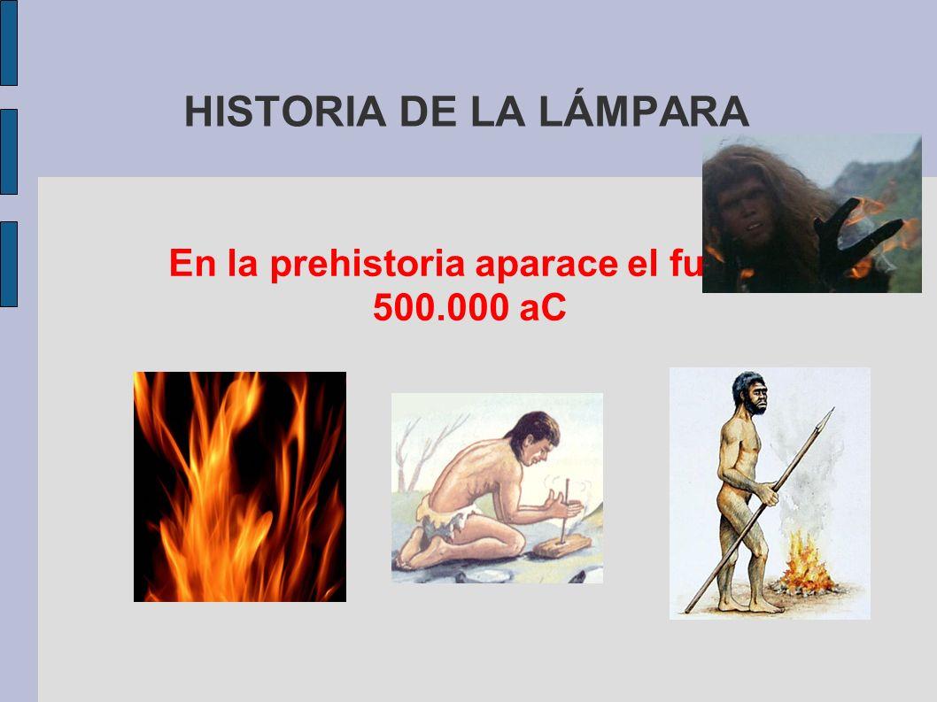 HISTORIA DE LA LÁMPARA En la prehistoria aparace el fuego 500.000 aC