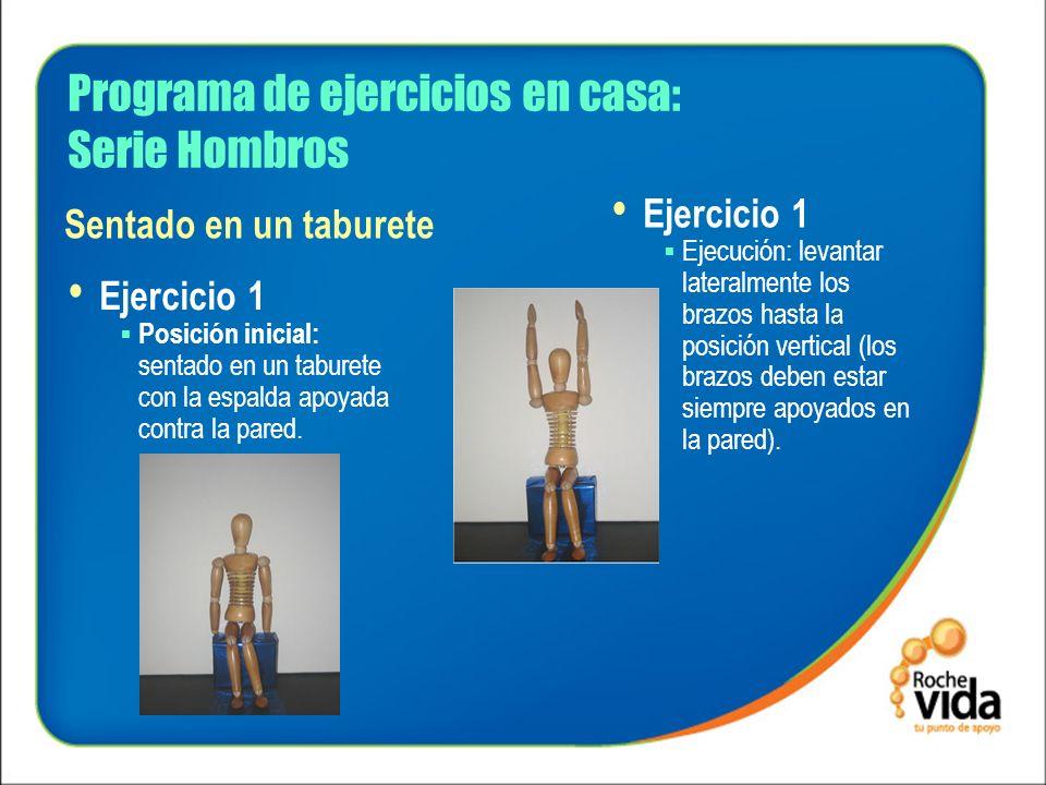 Programa de ejercicios en casa: Serie Hombros Ejercicio 1 Posición inicial: sentado en un taburete con la espalda apoyada contra la pared. Ejercicio 1