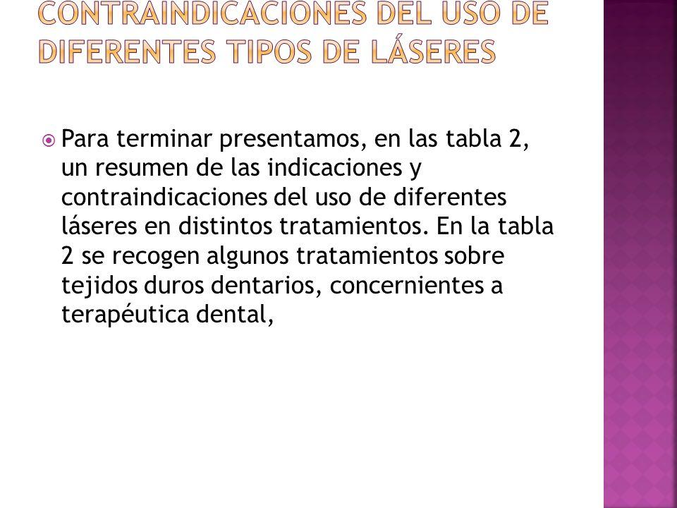 Para terminar presentamos, en las tabla 2, un resumen de las indicaciones y contraindicaciones del uso de diferentes láseres en distintos tratamientos