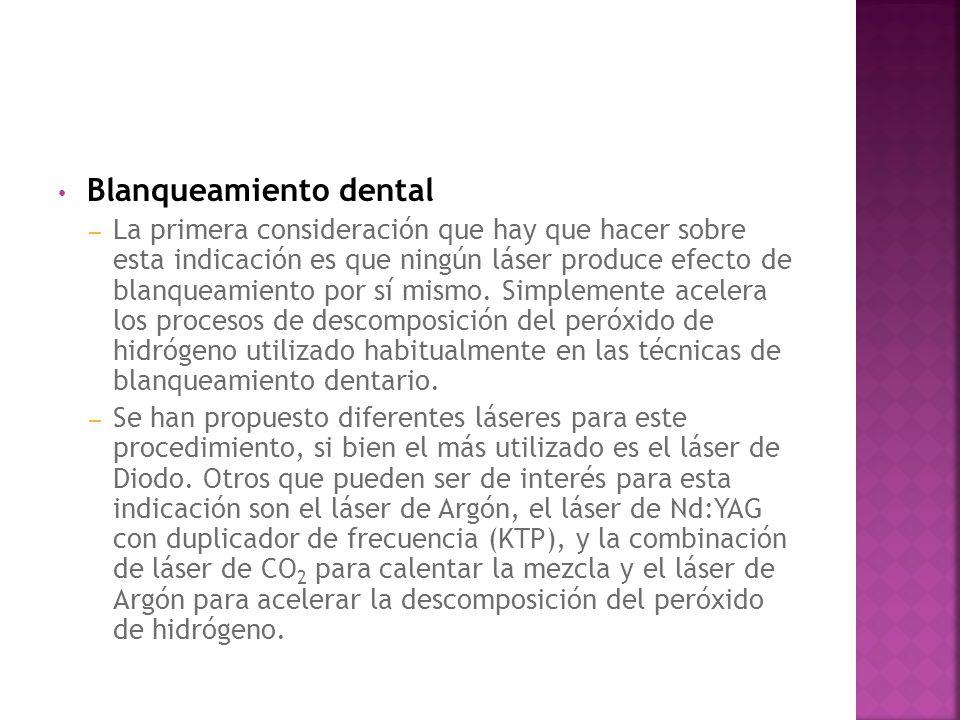 Blanqueamiento dental – La primera consideración que hay que hacer sobre esta indicación es que ningún láser produce efecto de blanqueamiento por sí m