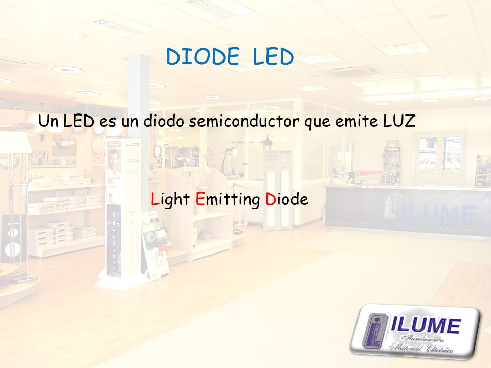 DIODE LED Un LED es un diodo semiconductor que emite LUZ Light Emitting Diode