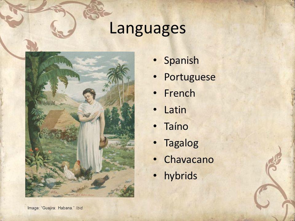 Languages Spanish Portuguese French Latin Taíno Tagalog Chavacano hybrids Image: Guajira: Habana. Ibid.