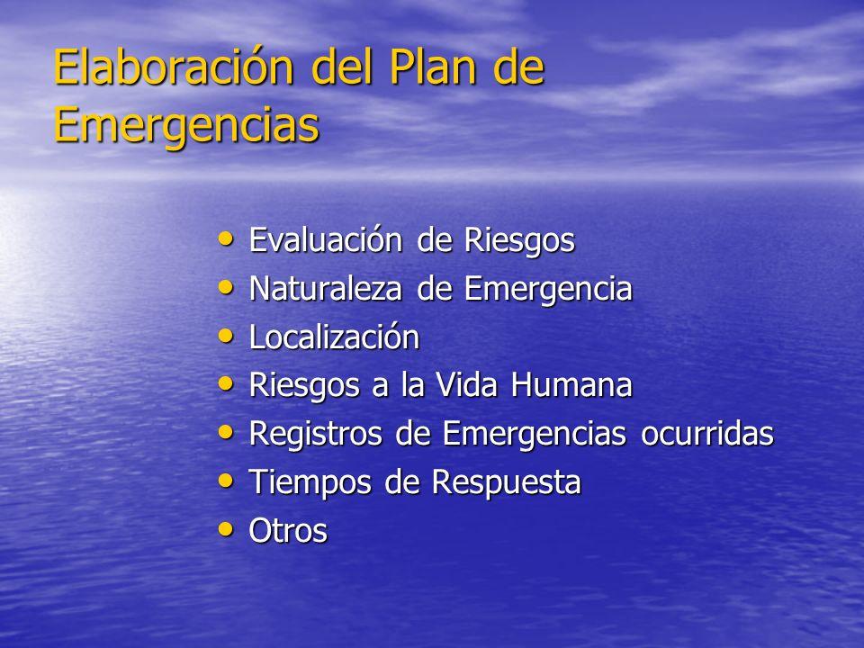Elaboración del Plan de Emergencias Evaluación de Riesgos Evaluación de Riesgos Naturaleza de Emergencia Naturaleza de Emergencia Localización Localiz