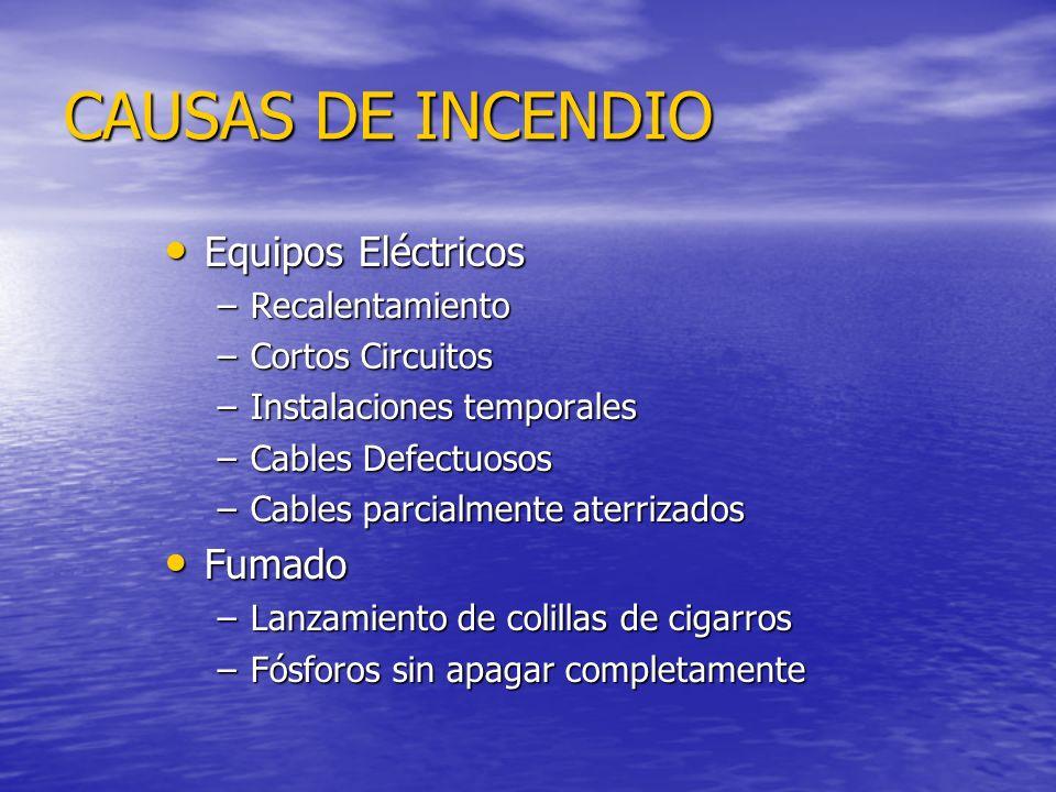 CAUSAS DE INCENDIO Equipos Eléctricos Equipos Eléctricos –Recalentamiento –Cortos Circuitos –Instalaciones temporales –Cables Defectuosos –Cables parc