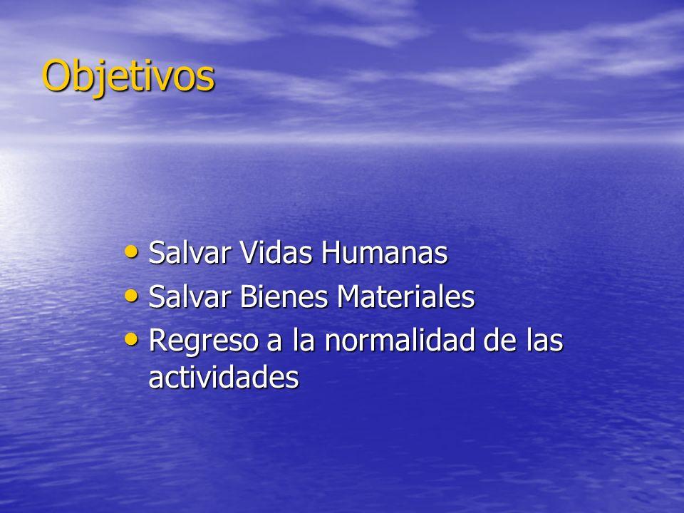Objetivos Salvar Vidas Humanas Salvar Vidas Humanas Salvar Bienes Materiales Salvar Bienes Materiales Regreso a la normalidad de las actividades Regre