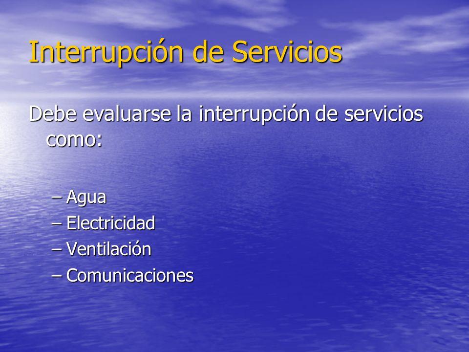 Interrupción de Servicios Debe evaluarse la interrupción de servicios como: –Agua –Electricidad –Ventilación –Comunicaciones