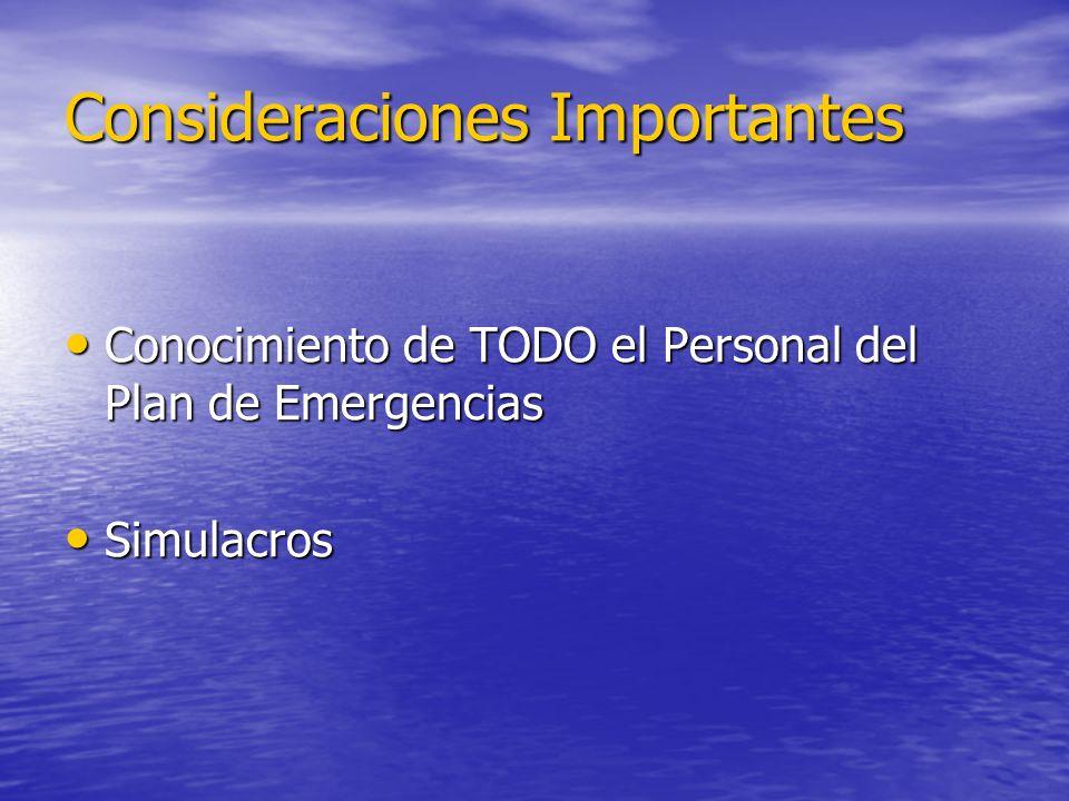 Consideraciones Importantes Conocimiento de TODO el Personal del Plan de Emergencias Conocimiento de TODO el Personal del Plan de Emergencias Simulacr