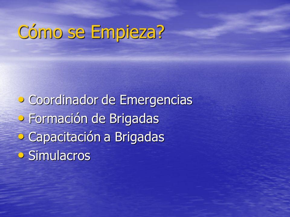 Cómo se Empieza? Coordinador de Emergencias Coordinador de Emergencias Formación de Brigadas Formación de Brigadas Capacitación a Brigadas Capacitació