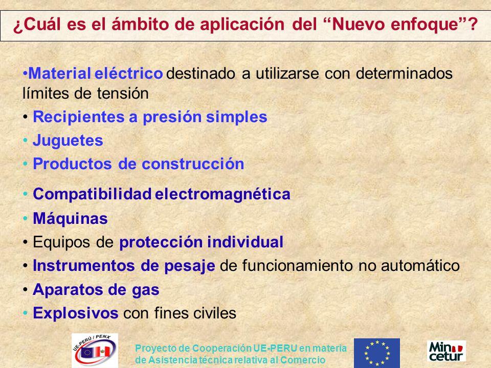 ¿Cuál es el ámbito de aplicación del Nuevo enfoque? Material eléctrico destinado a utilizarse con determinados límites de tensión Recipientes a presió