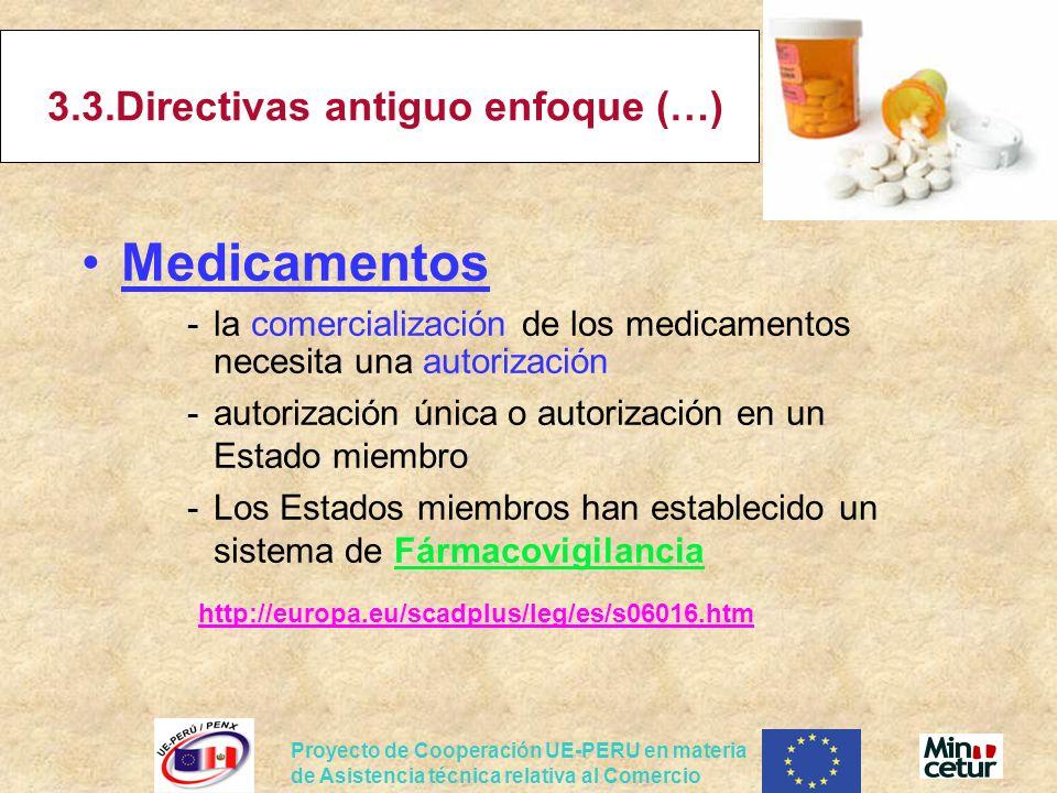 Proyecto de Cooperación UE-PERU en materia de Asistencia técnica relativa al Comercio 3.3.Directivas antiguo enfoque (…) Medicamentos -la comercializa