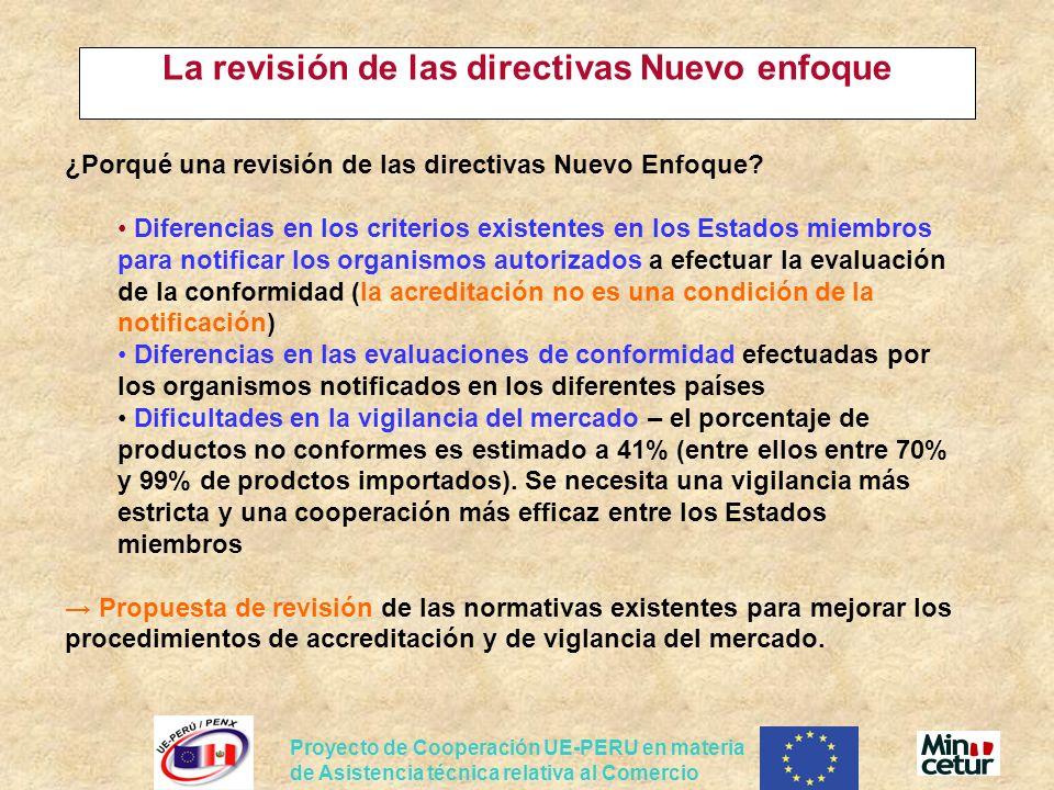 Proyecto de Cooperación UE-PERU en materia de Asistencia técnica relativa al Comercio La revisión de las directivas Nuevo enfoque ¿Porqué una revisión