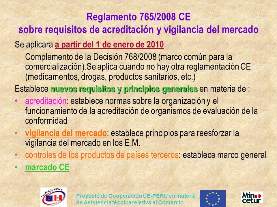 Proyecto de Cooperación UE-PERU en materia de Asistencia técnica relativa al Comercio Reglamento 765/2008 CE sobre requisitos de acreditación y vigila
