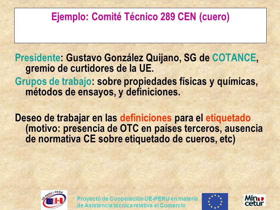 Proyecto de Cooperación UE-PERU en materia de Asistencia técnica relativa al Comercio Ejemplo: Comité Técnico 289 CEN (cuero) Presidente: Gustavo Gonz