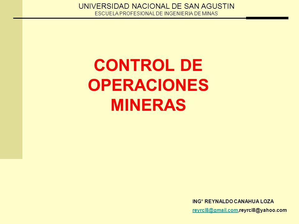CONTROL DE OPERACIONES MINERAS ING° REYNALDO CANAHUA LOZA reyrcl8@gmail.comreyrcl8@gmail.com,reyrcl8@yahoo.com UNIVERSIDAD NACIONAL DE SAN AGUSTIN ESCUELA PROFESIONAL DE INGENIERIA DE MINAS
