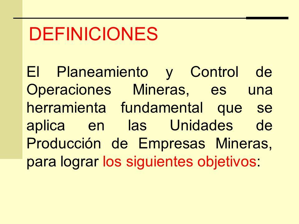 El Planeamiento y Control de Operaciones Mineras, es una herramienta fundamental que se aplica en las Unidades de Producción de Empresas Mineras, para lograr los siguientes objetivos: DEFINICIONES