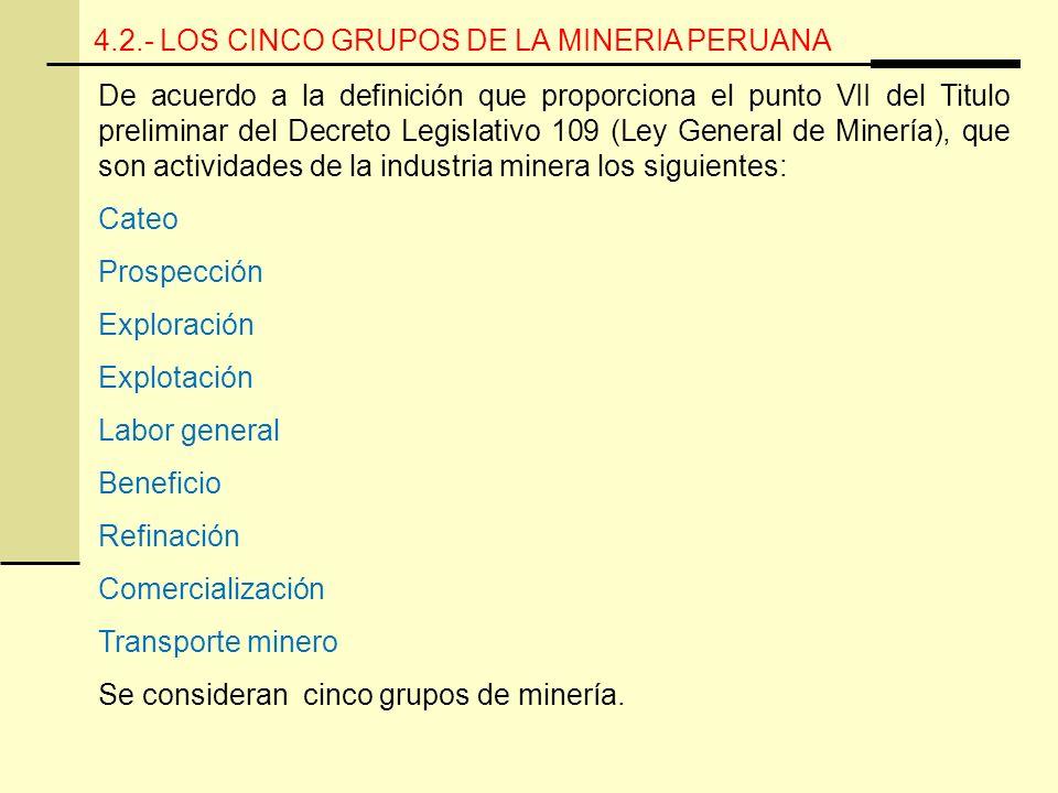 4.2.- LOS CINCO GRUPOS DE LA MINERIA PERUANA De acuerdo a la definición que proporciona el punto VII del Titulo preliminar del Decreto Legislativo 109 (Ley General de Minería), que son actividades de la industria minera los siguientes: Cateo Prospección Exploración Explotación Labor general Beneficio Refinación Comercialización Transporte minero Se consideran cinco grupos de minería.