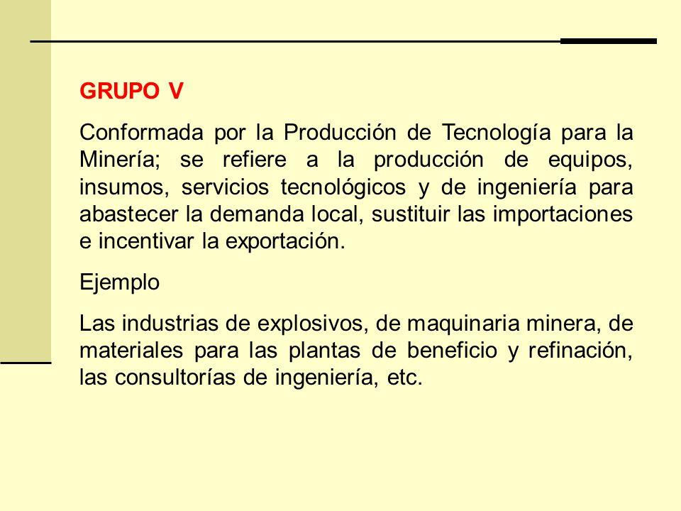 GRUPO V Conformada por la Producción de Tecnología para la Minería; se refiere a la producción de equipos, insumos, servicios tecnológicos y de ingeniería para abastecer la demanda local, sustituir las importaciones e incentivar la exportación.