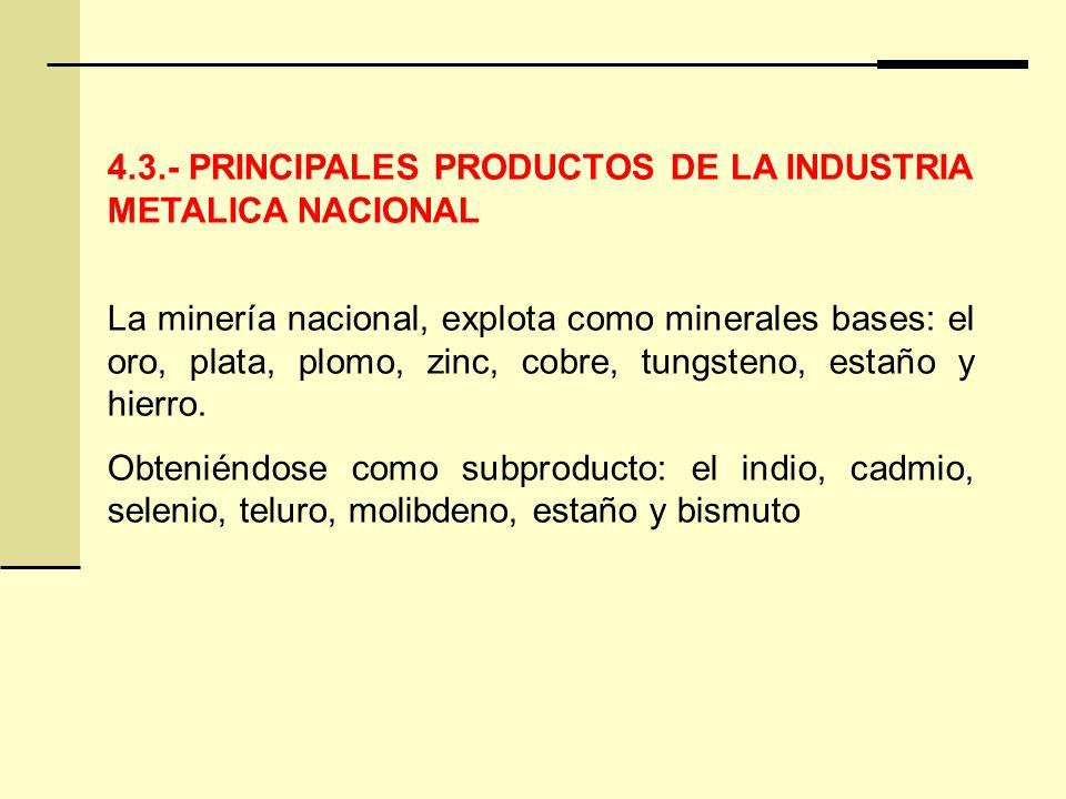 4.3.- PRINCIPALES PRODUCTOS DE LA INDUSTRIA METALICA NACIONAL La minería nacional, explota como minerales bases: el oro, plata, plomo, zinc, cobre, tungsteno, estaño y hierro.
