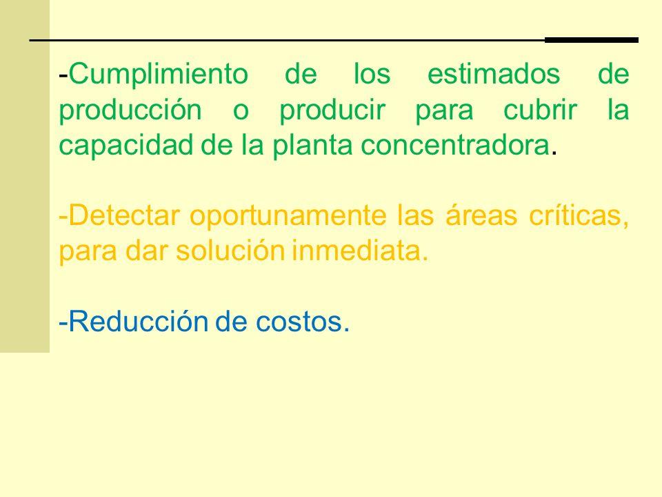 -Cumplimiento de los estimados de producción o producir para cubrir la capacidad de la planta concentradora. -Detectar oportunamente las áreas crítica