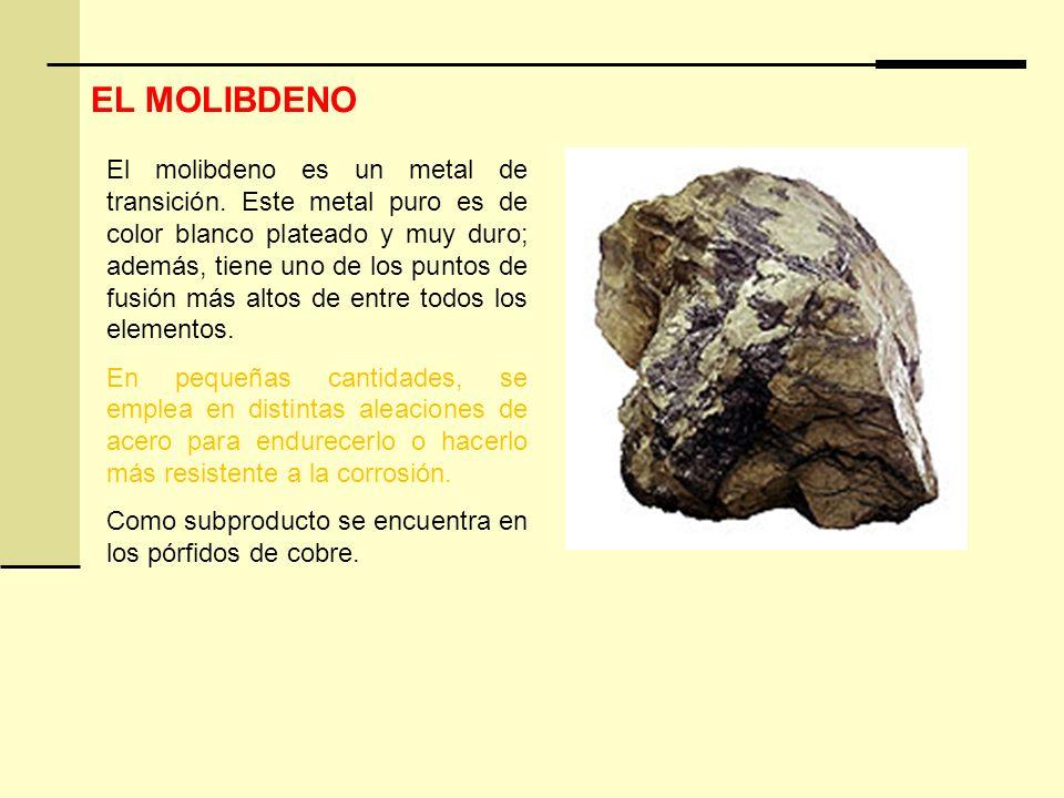 El molibdeno es un metal de transición. Este metal puro es de color blanco plateado y muy duro; además, tiene uno de los puntos de fusión más altos de