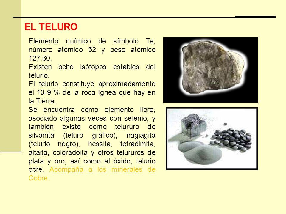 Elemento químico de símbolo Te, número atómico 52 y peso atómico 127.60. Existen ocho isótopos estables del telurio. El telurio constituye aproximadam