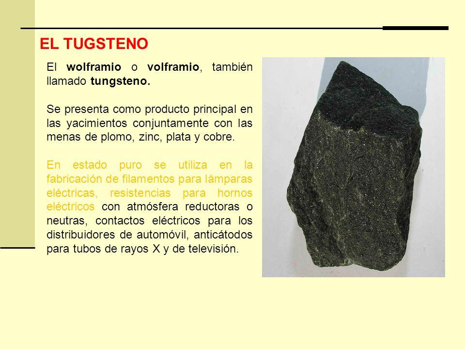 El wolframio o volframio, también llamado tungsteno. Se presenta como producto principal en las yacimientos conjuntamente con las menas de plomo, zinc