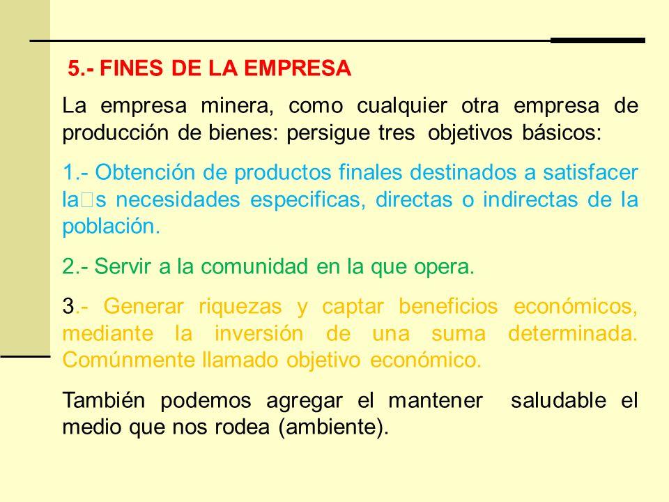 5.- FINES DE LA EMPRESA La empresa minera, como cualquier otra empresa de producción de bienes: persigue tres objetivos básicos: 1.- Obtención de productos finales destinados a satisfacer la€s necesidades especificas, directas o indirectas de la población.