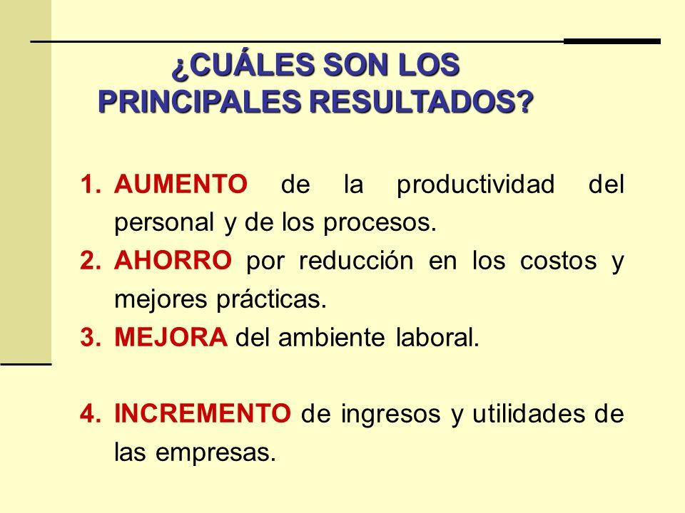 ¿CUÁLES SON LOS PRINCIPALES RESULTADOS? 1.AUMENTO de la productividad del personal y de los procesos. 2.AHORRO por reducción en los costos y mejores p