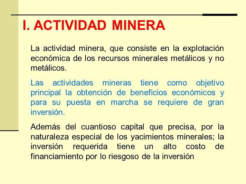 I. ACTIVIDAD MINERA La actividad minera, que consiste en la explotación económica de los recursos minerales metálicos y no metálicos. Las actividades