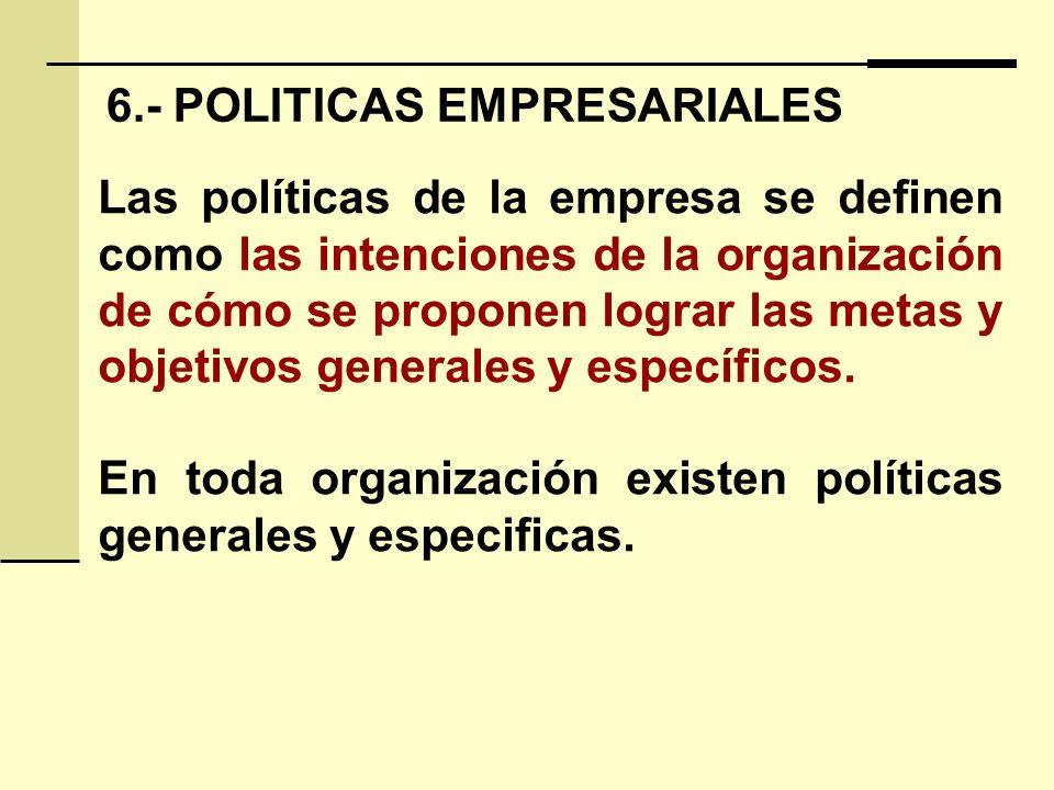 6.- POLITICAS EMPRESARIALES Las políticas de la empresa se definen como las intenciones de la organización de cómo se proponen lograr las metas y objetivos generales y específicos.