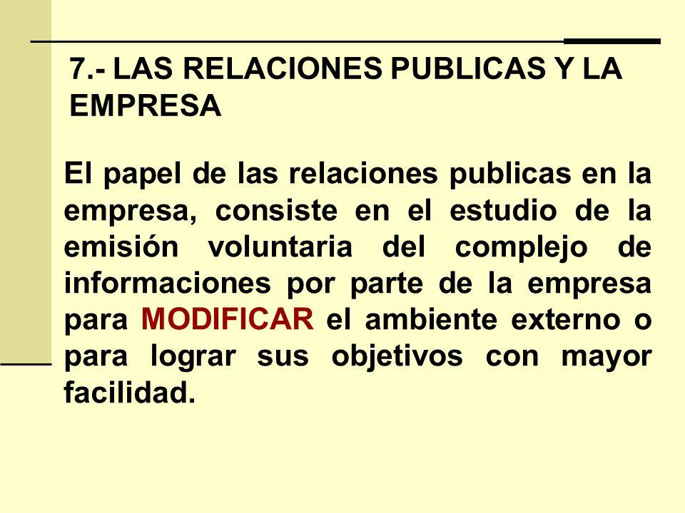 7.- LAS RELACIONES PUBLICAS Y LA EMPRESA El papel de las relaciones publicas en la empresa, consiste en el estudio de la emisión voluntaria del comple