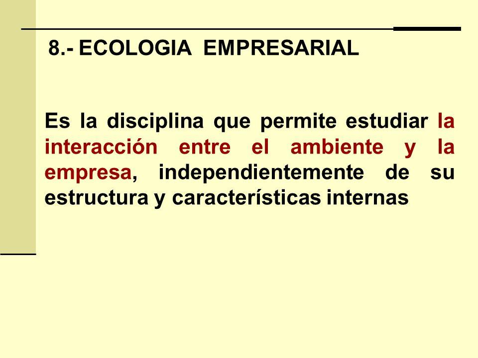 8.- ECOLOGIA EMPRESARIAL Es la disciplina que permite estudiar la interacción entre el ambiente y la empresa, independientemente de su estructura y características internas