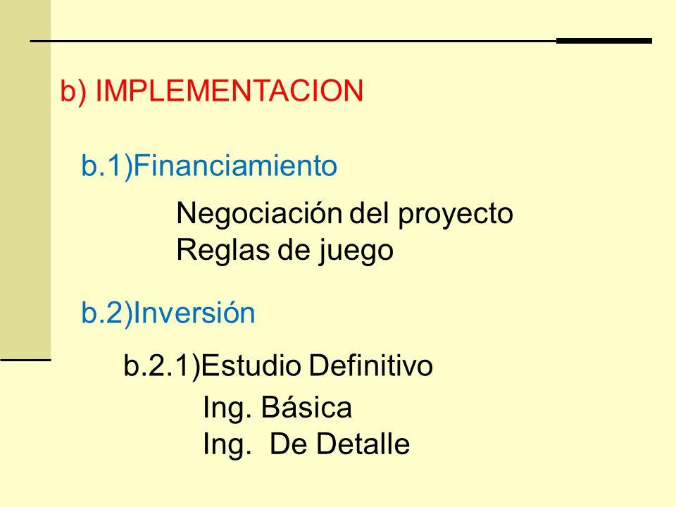 b.1)Financiamiento Negociación del proyecto Reglas de juego b) IMPLEMENTACION b.2)Inversión b.2.1)Estudio Definitivo Ing. Básica Ing. De Detalle