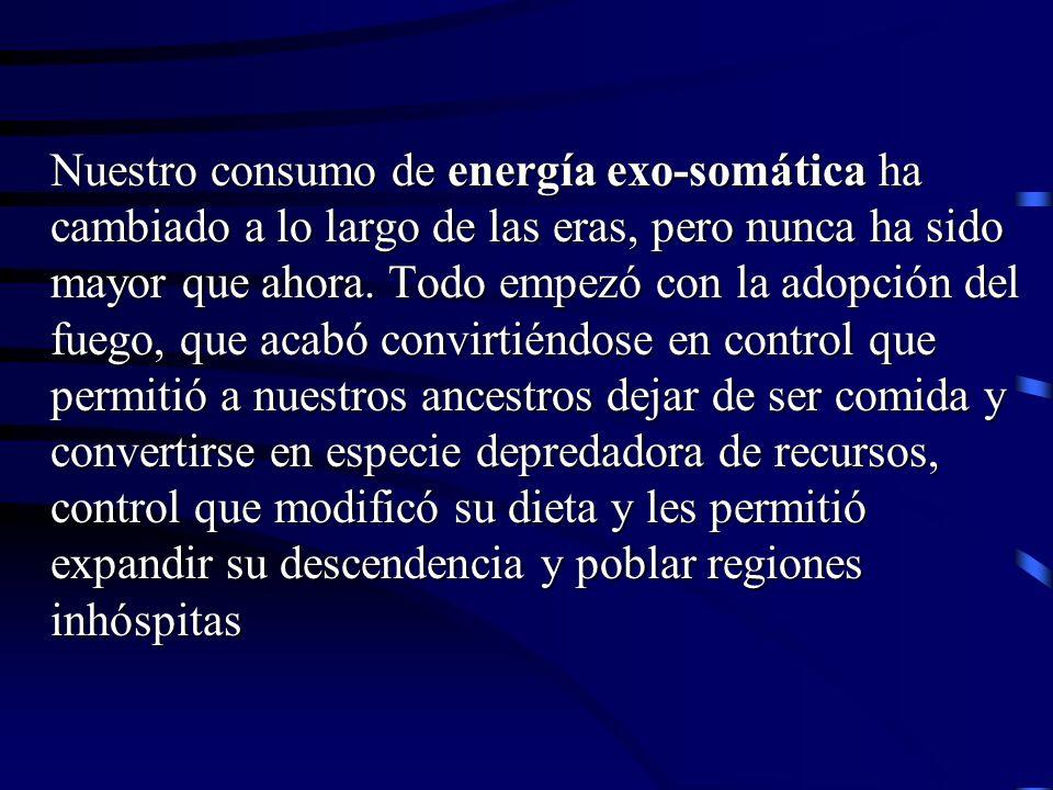 Nuestro consumo de energía exo-somática ha cambiado a lo largo de las eras, pero nunca ha sido mayor que ahora. Todo empezó con la adopción del fuego,