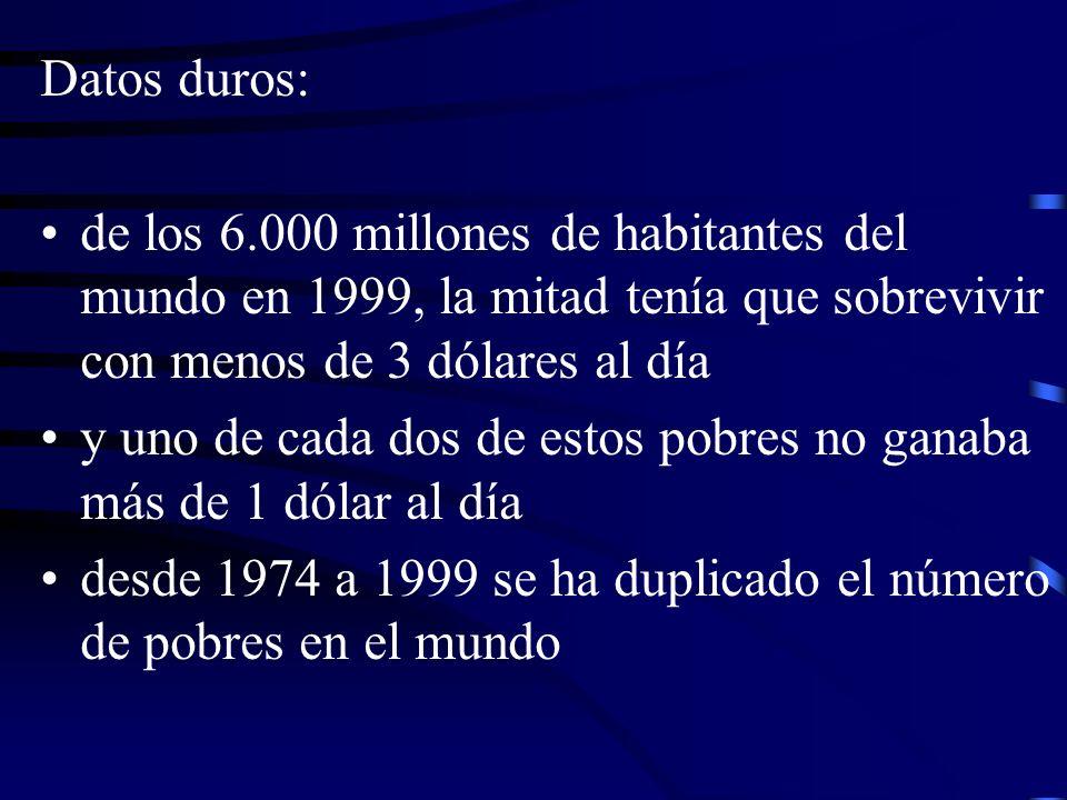 Datos duros: de los 6.000 millones de habitantes del mundo en 1999, la mitad tenía que sobrevivir con menos de 3 dólares al día y uno de cada dos de e