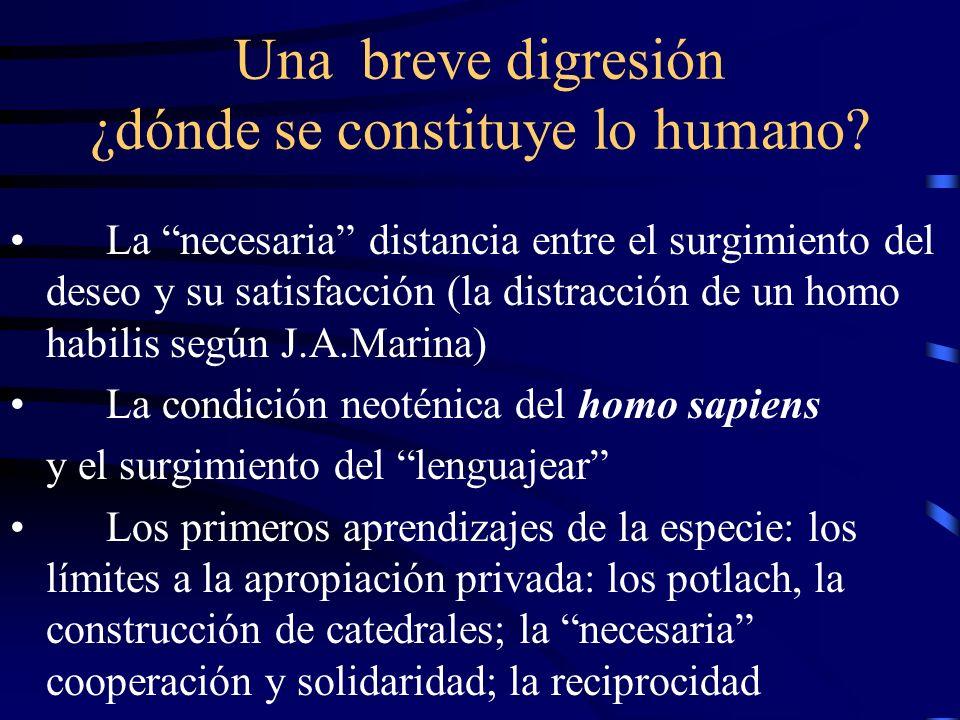 Una breve digresión ¿dónde se constituye lo humano? La necesaria distancia entre el surgimiento del deseo y su satisfacción (la distracción de un homo