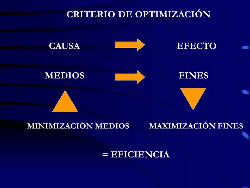 CAUSAEFECTO MEDIOSFINES MINIMIZACIÓN MEDIOS MAXIMIZACIÓN FINES = EFICIENCIA CRITERIO DE OPTIMIZACIÓN
