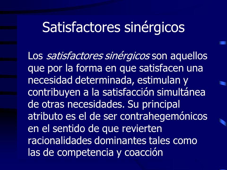 Satisfactores sinérgicos Los satisfactores sinérgicos son aquellos que por la forma en que satisfacen una necesidad determinada, estimulan y contribuy