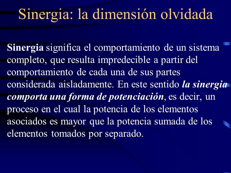 Sinergia: la dimensión olvidada Sinergia significa el comportamiento de un sistema completo, que resulta impredecible a partir del comportamiento de c