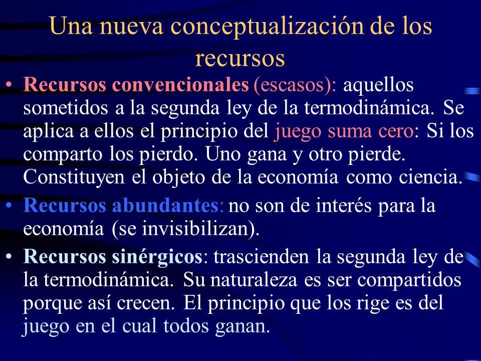 Una nueva conceptualización de los recursos Recursos convencionales (escasos): aquellos sometidos a la segunda ley de la termodinámica. Se aplica a el