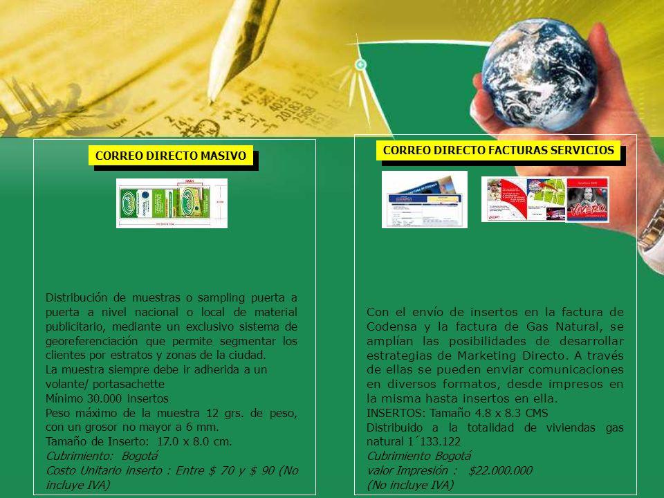 CORREO DIRECTO MASIVO Distribución de muestras o sampling puerta a puerta a nivel nacional o local de material publicitario, mediante un exclusivo sis
