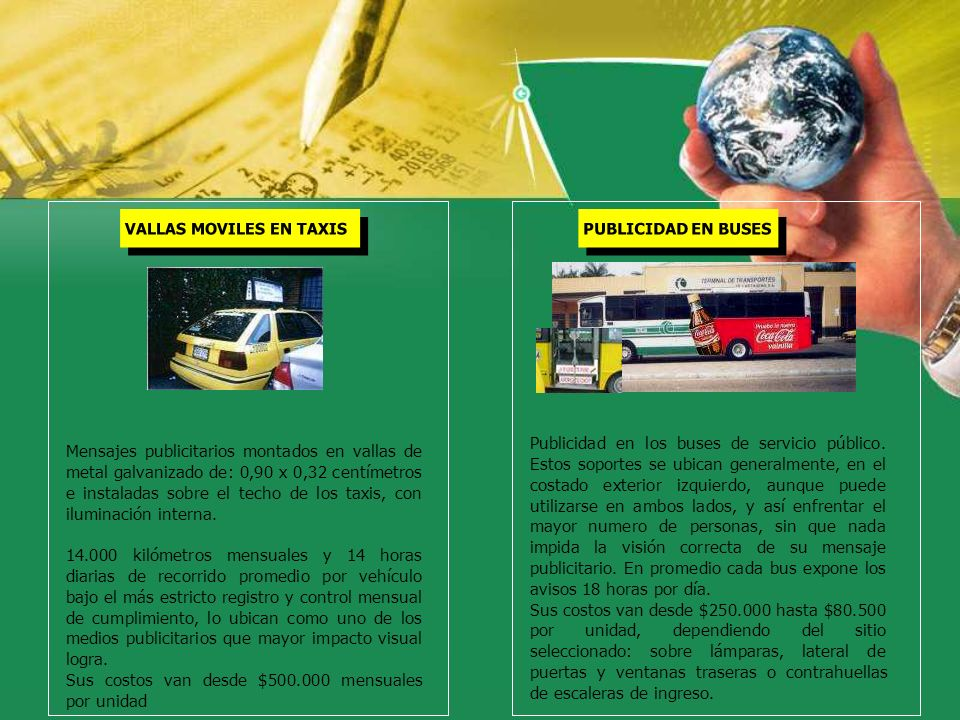 Mensajes publicitarios montados en vallas de metal galvanizado de: 0,90 x 0,32 centímetros e instaladas sobre el techo de los taxis, con iluminación i