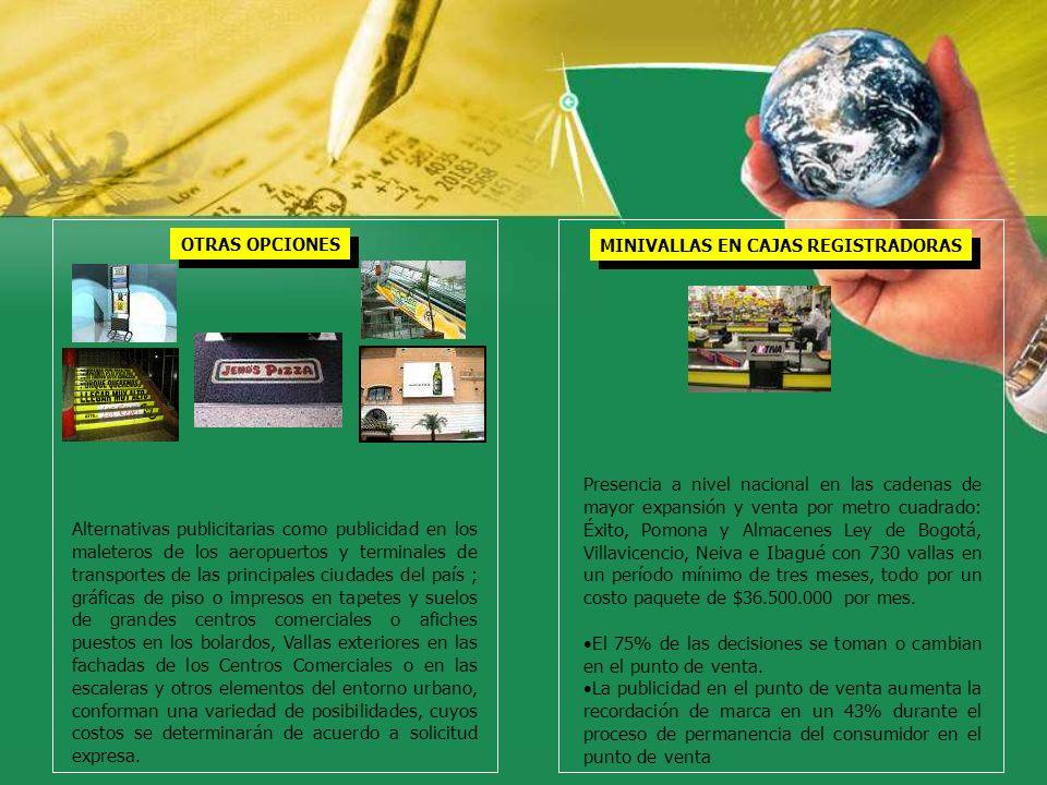OTRAS OPCIONES Alternativas publicitarias como publicidad en los maleteros de los aeropuertos y terminales de transportes de las principales ciudades
