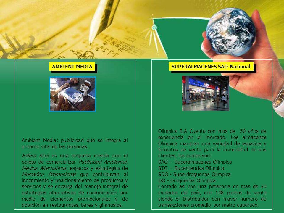 AMBIENT MEDIA Ambient Media: publicidad que se integra al entorno vital de las personas. Esfera Azul es una empresa creada con el objeto de comerciali