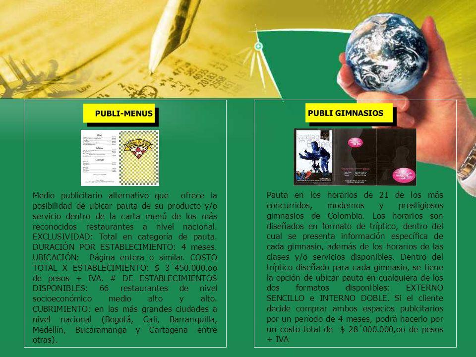 PUBLI-MENUS PUBLI GIMNASIOS Medio publicitario alternativo que ofrece la posibilidad de ubicar pauta de su producto y/o servicio dentro de la carta me