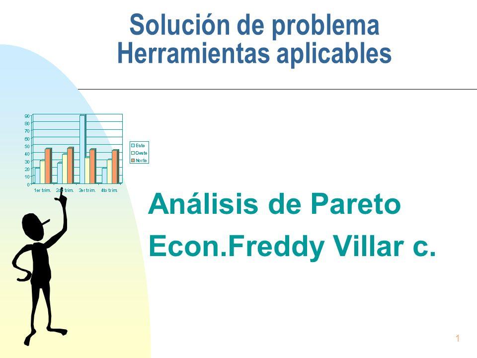 1 Solución de problema Herramientas aplicables Análisis de Pareto Econ.Freddy Villar c.