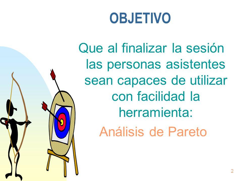 2 Que al finalizar la sesión las personas asistentes sean capaces de utilizar con facilidad la herramienta: Análisis de Pareto OBJETIVO